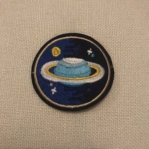 Saturn and stars iron on patch
